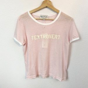 Wildfox Textrovert Graphic Ringer Tee In Pink.